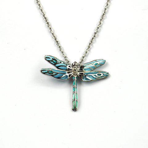 Small Blue Enamelled Dragonfly Pendant  with White Sapphires