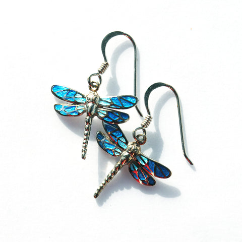 Silver Enamel Dragonfly Earrings in Blue
