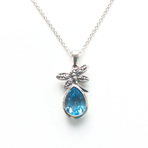 Silver Pendant with Blue Topaz and Dragonfly Detail