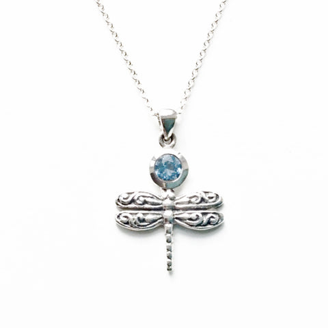 Silver Dragonfly pendant with Blue Topaz