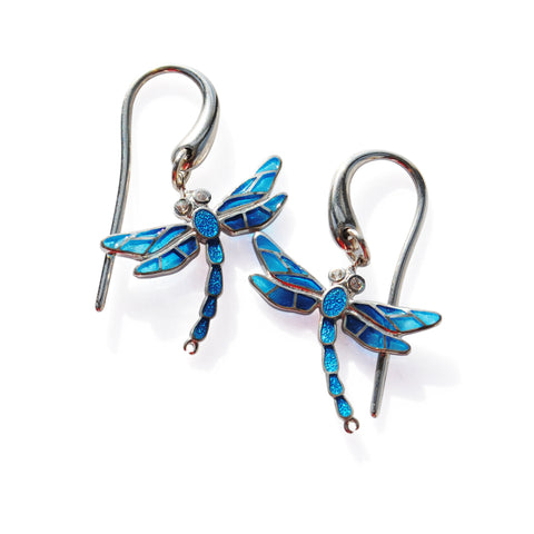Enamel Earrings in Blue with White Saphires