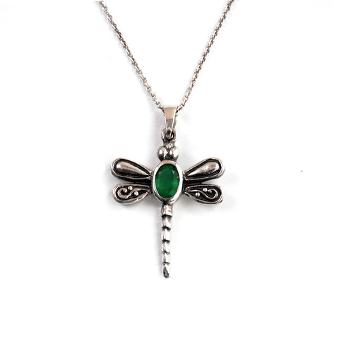 Pretty Dragonfly Pendant in silver with detail on wings and Oval faceted green stone for the bodybody