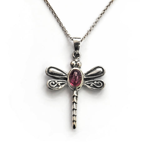 Victorian Style Silver Dragonfly Pendant with Oval Pink Tourmaline