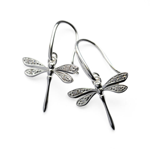 Stone-set Silver Dragonfly Earrings with white CZ