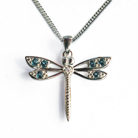 Stone-set Silver Dragonfly Pendant with Blue Topaz & White CZ