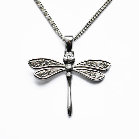Stone-set Silver Dragonfly Pendant with white CZ