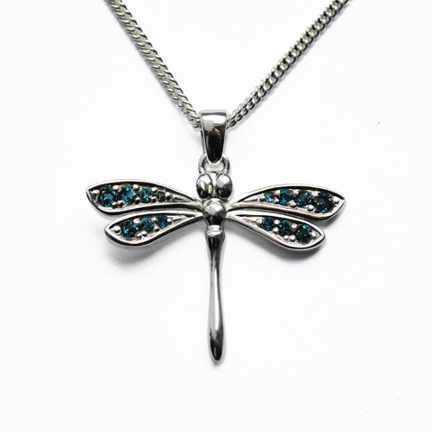 Stone-set Silver Dragonfly Pendant with Blue Topaz