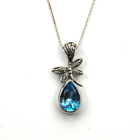 Victorian Style Silver Pendant with Large Blue Topaz and Dragonfly Detail