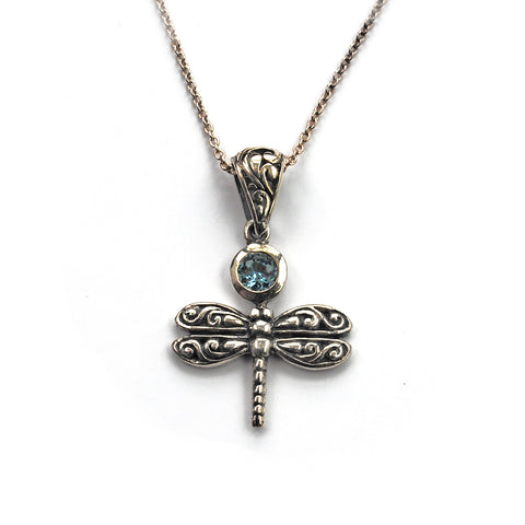 Victorian Style Silver Dragonfly pendant with Light Blue Topaz