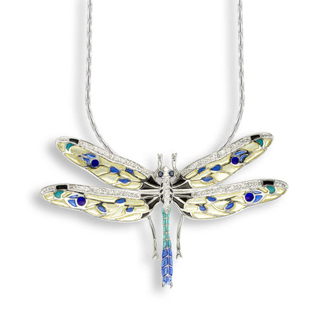 A stunning dragonfly necklace by Nicole Barr featuring white saphires with yellow and blue plique-a-jour enamel