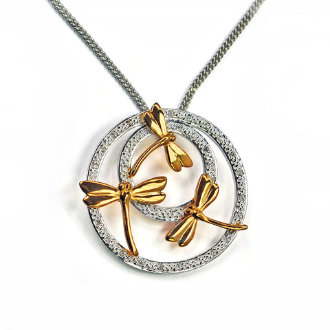 Pendant with Gold Plated Dragonflies and White Saphires