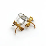 Earrings in Silver with Gold Plated Dragonflies and White Sapphires