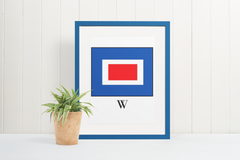 Nautical Code Flag Letter W - Instant Download - printable