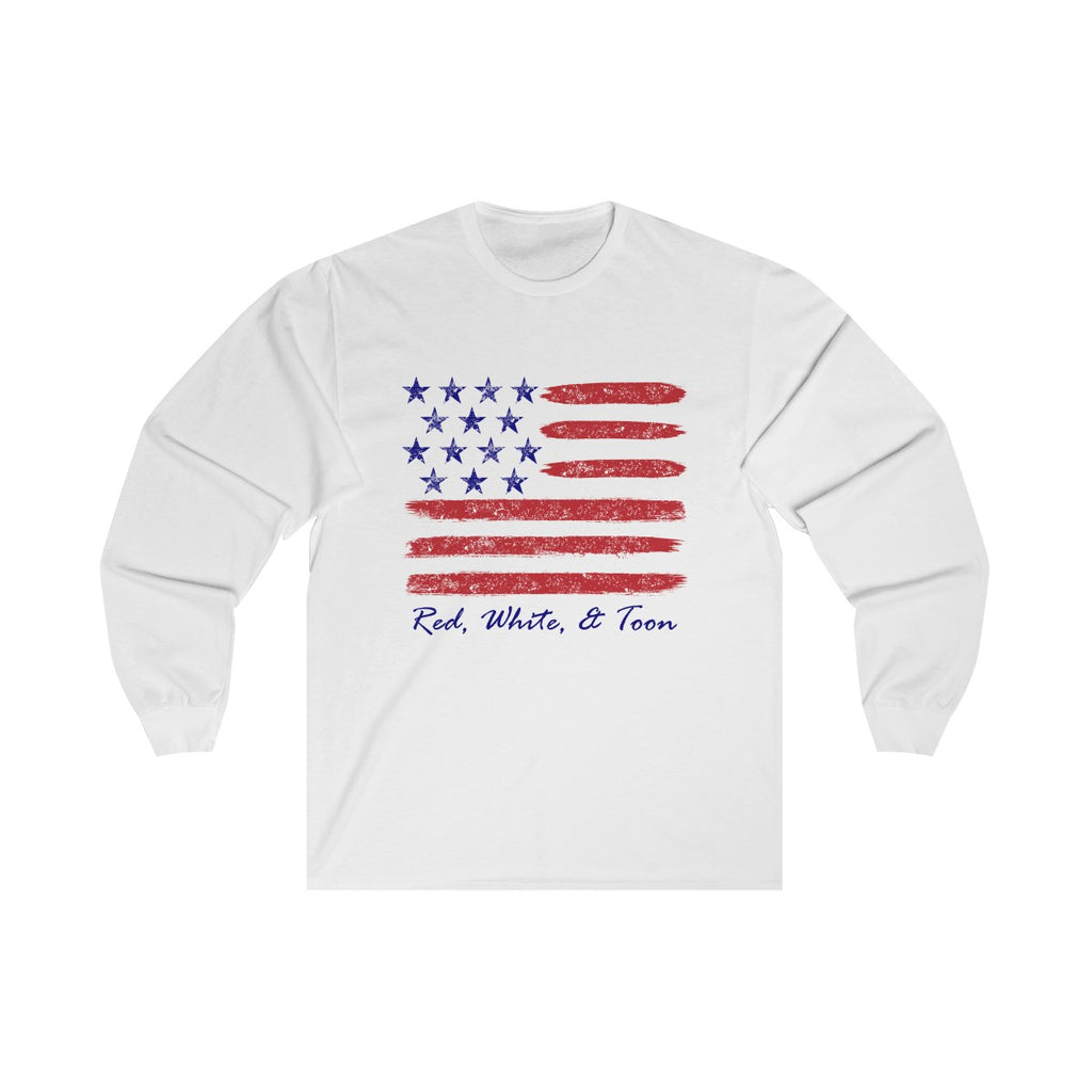Pontoon Girl - Red White and Toon - Contemporary Flag Long Sleeve T