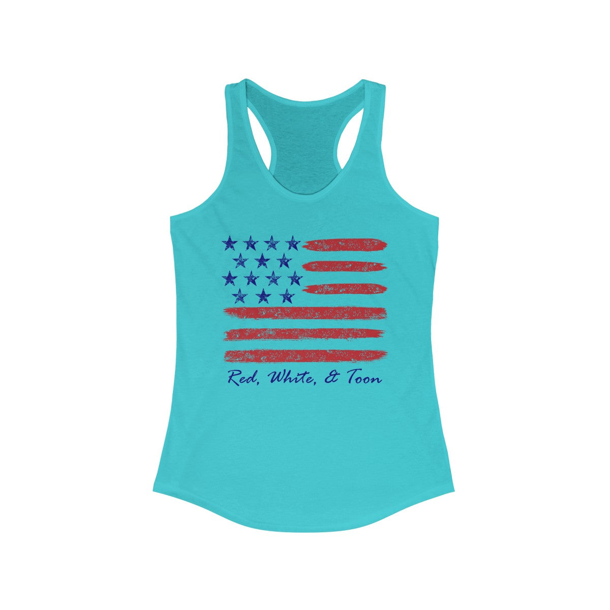 Pontoon Girl - Red White and Toon - Contemporary Flag Racerback Tank Top