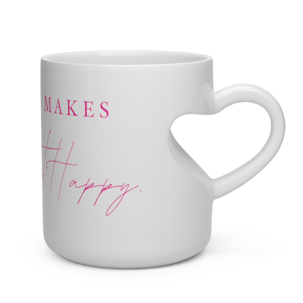 Boating Makes My Heart Happy - Pink Writing - Heart Shape Mug