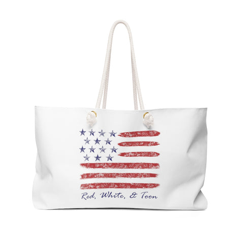 Pontoon Girl Contemporary Flag - Red White and Toon Weekender Bag