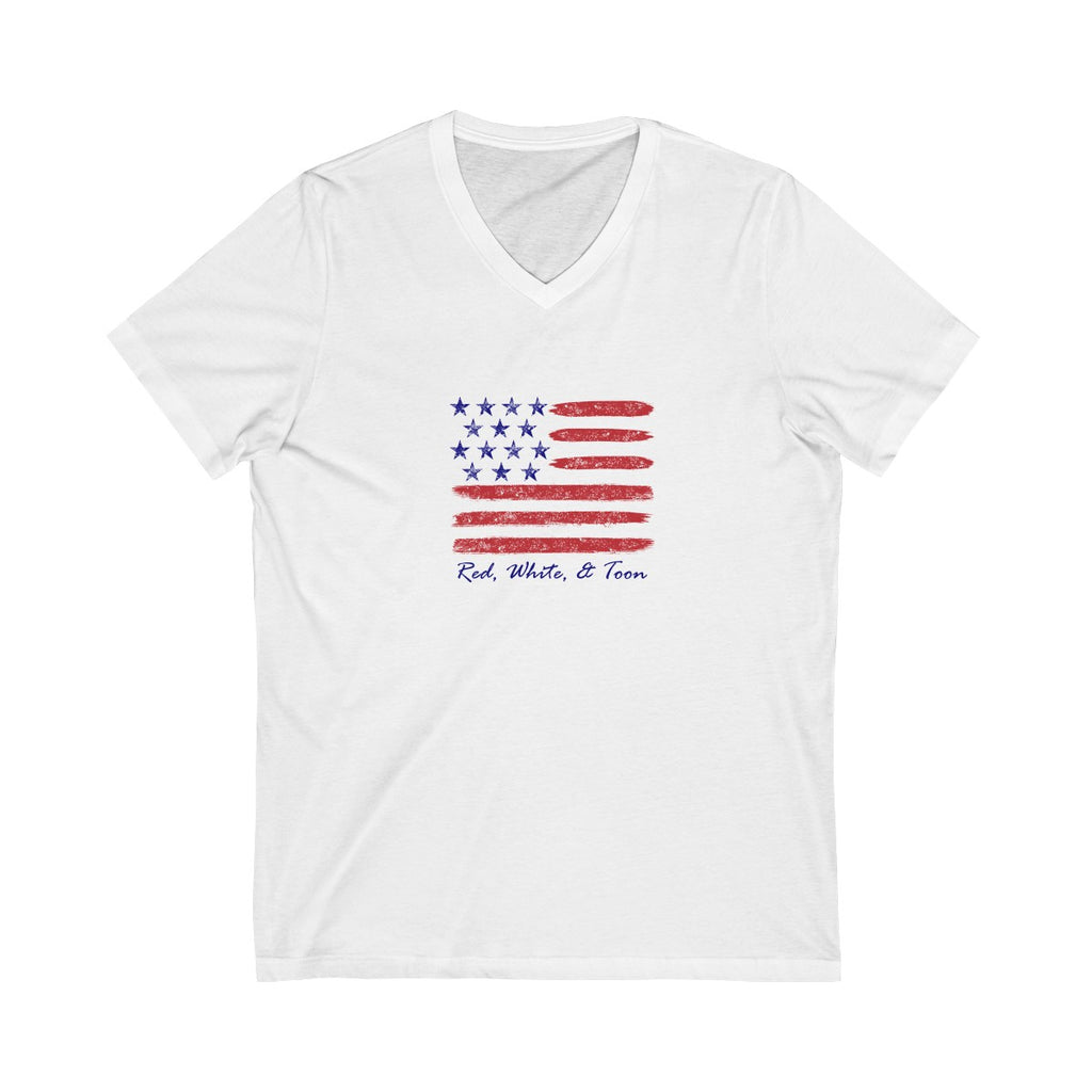 Pontoon Girl - Red White and Toon - Contemporary Flag V Neck T Shirt