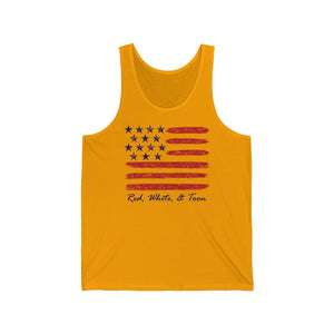 Tank Top -  Contemporary Flag - Red White and Toon - TWO SIDED DESIGN