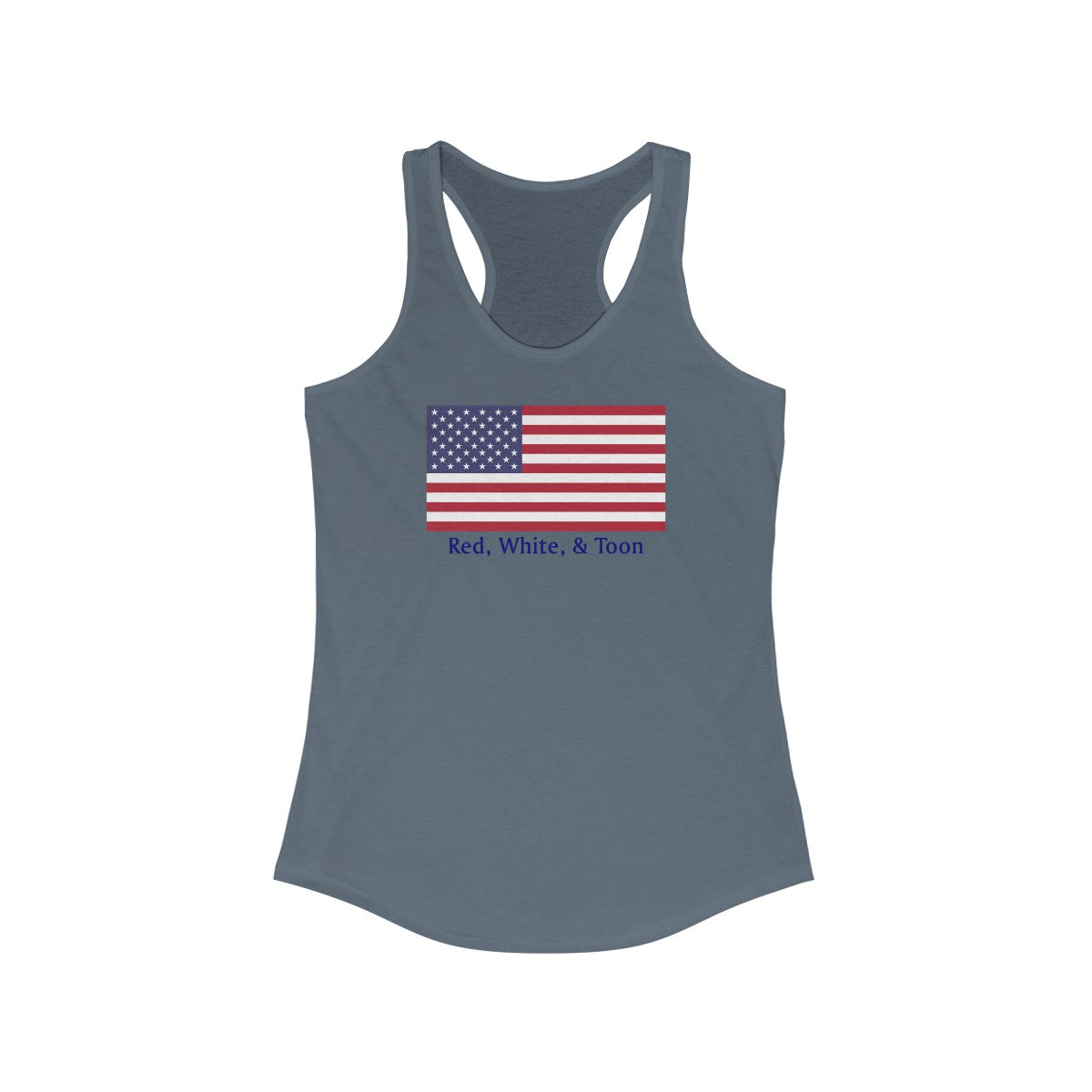 Pontoon Girl - Classic Flag - Red White and Toon Racerback Tank - TWO SIDED