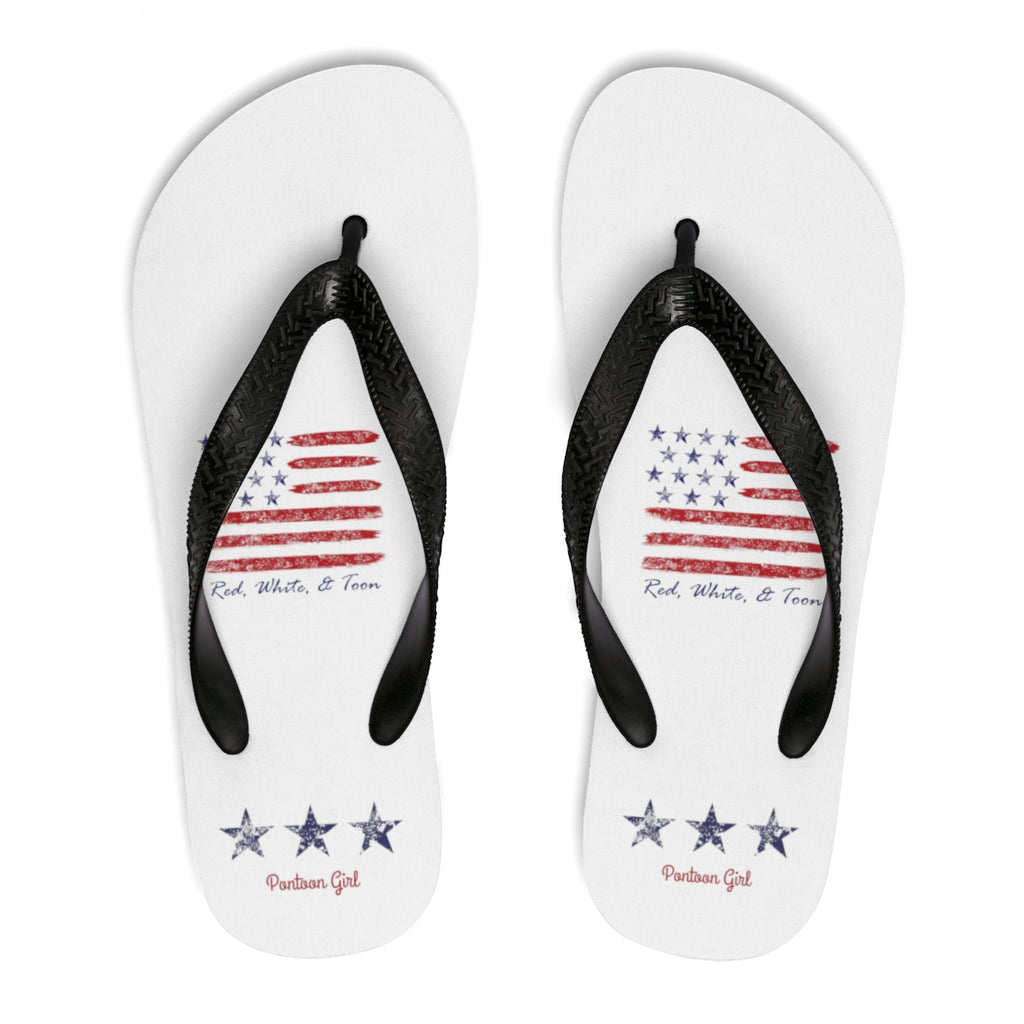 Pontoon Girl - Red White and Toon - Flip Flops - Contemporary Flag