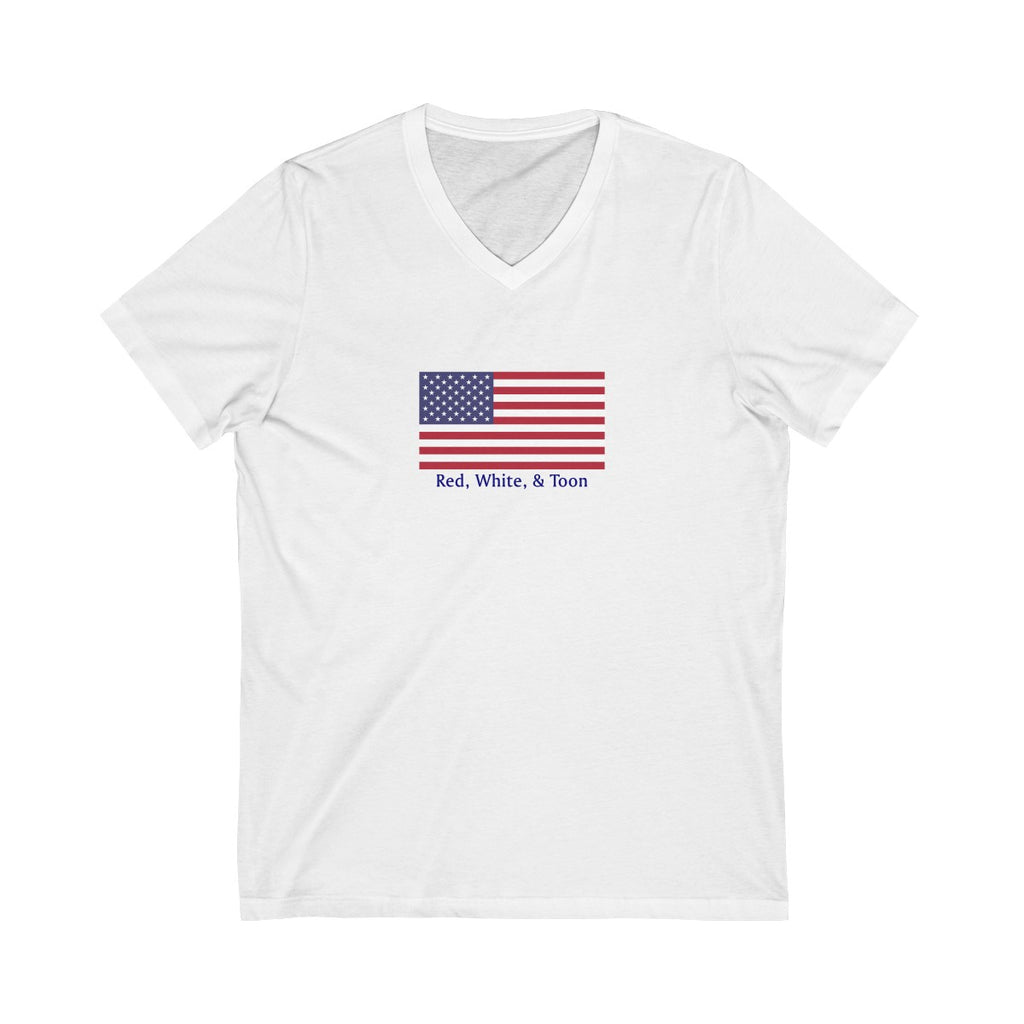 Pontoon Girl V Neck T Shirt - Classic Flag - Red White and Toon