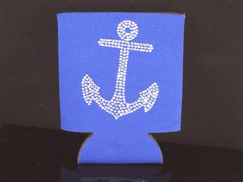 Six Nautical Can Coolers with Rhinestone Sparkle