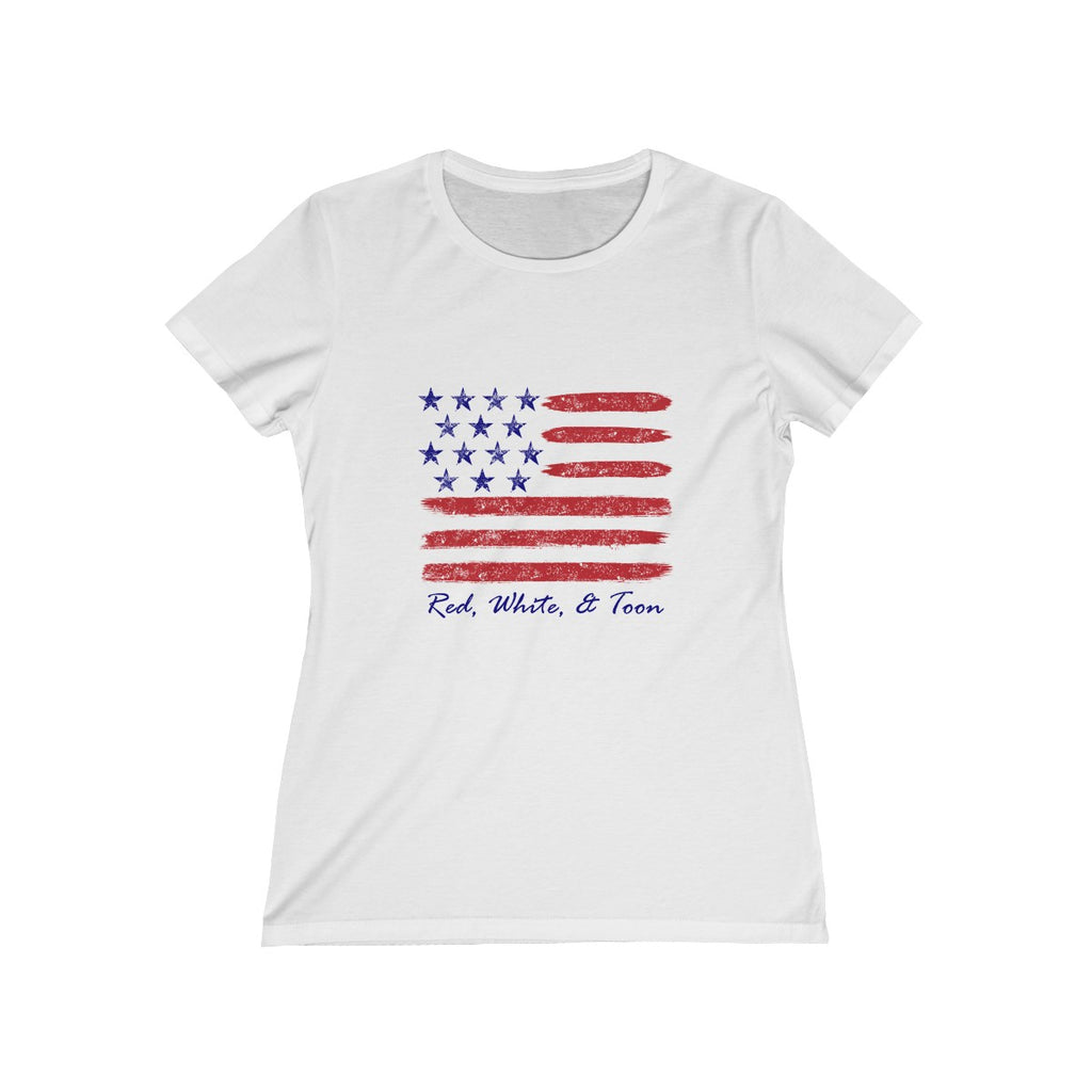 Ladies Cut - Red White and Toon Contemporary Flag Design