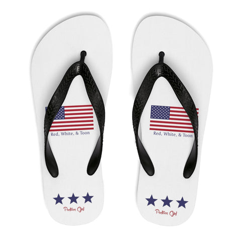 Pontoon Girl - Red White and Toon - Flip Flops - Classic Flag