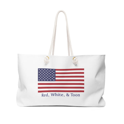 Pontoon Girl - Classic Flag - Red White and Toon Weekender Bag