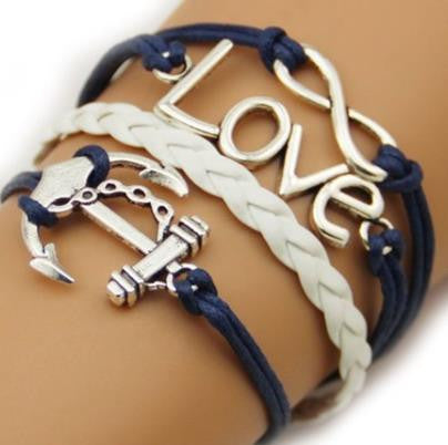 Anchors & Love... OH MY Bracelet - Blue