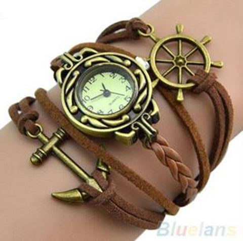 Brown Ship's Wheel and Anchor Watch