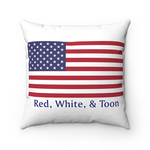 Pontoon Girl - Red White and Toon - Classic Flag Pillow