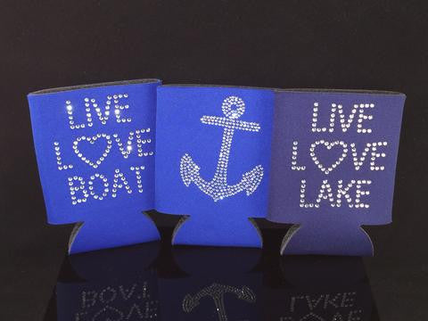 Nautical Can Coolers - Set of two - Rhinestone Anchor on one side - Live Love Lake, Live Love Boat, Live Love Sail on the other side!