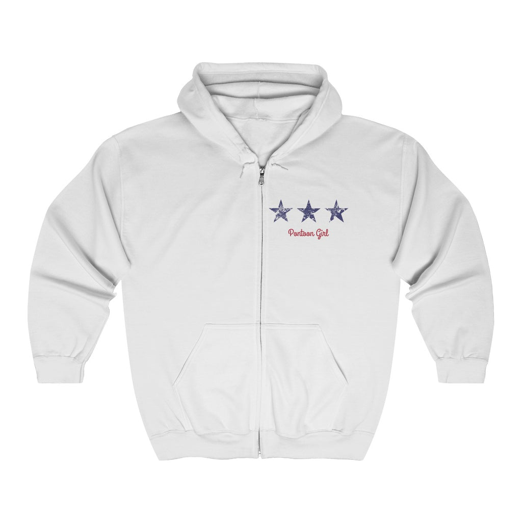 Pontoon Girl - Red White and Toon - Contemporary Flag Zip Hoodie