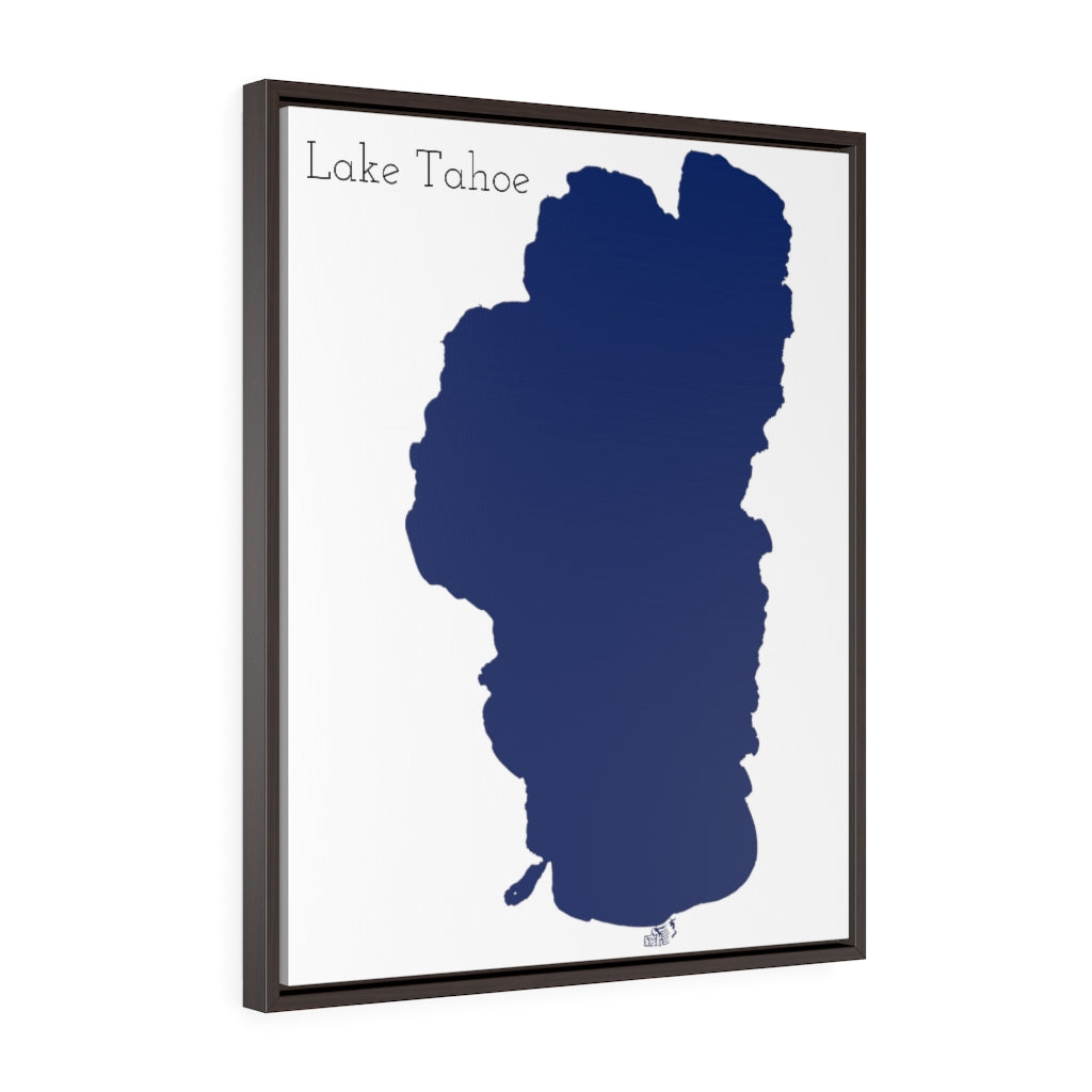 Lake Tahoe - Party Lakes Collection - Vertical Framed Premium Gallery Wrap Canvas