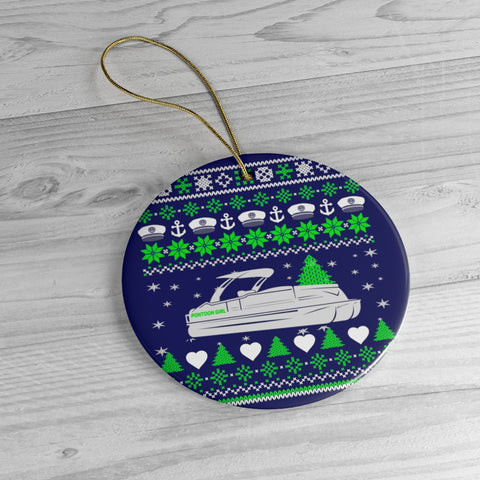 Pontoon Girl Ceramic Ornaments - Round