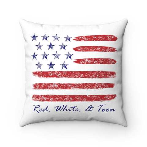 Pontoon Girl - Red White and Toon - Contemporary Pillow