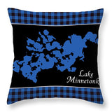 Lake Minnetonka Map With Black Background - Throw Pillow
