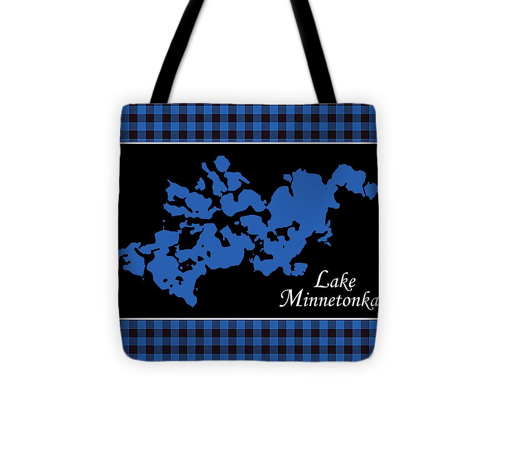 Lake Minnetonka Map With Black Background - Tote Bag
