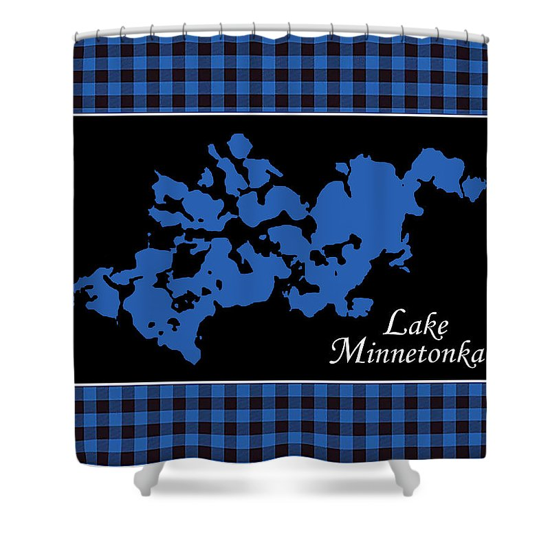Lake Minnetonka Map With Black Background - Shower Curtain