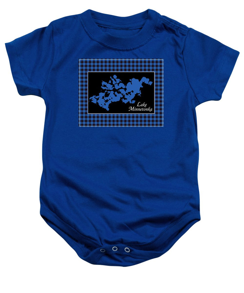 Lake Minnetonka Map With Black Background - Baby Onesie