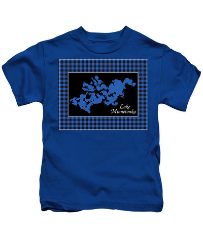 Lake Minnetonka Map With Black Background - Kids T-Shirt