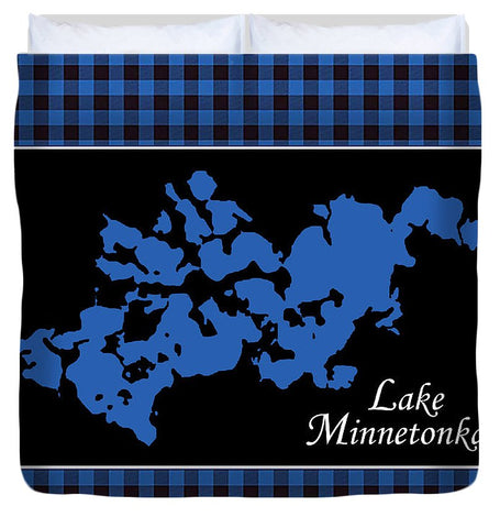 Lake Minnetonka Map With Black Background - Duvet Cover