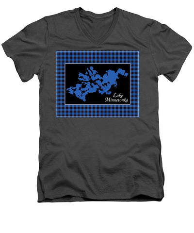 Lake Minnetonka Map With Black Background - Men's V-Neck T-Shirt