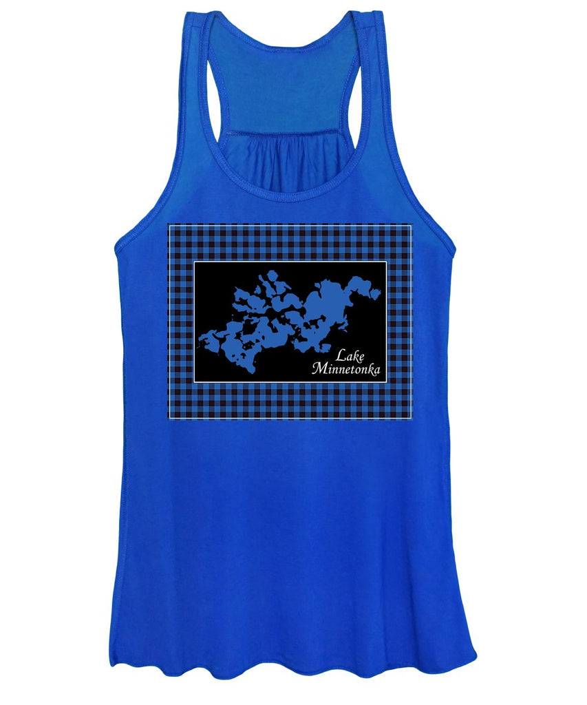 Lake Minnetonka Map With Black Background - Women's Tank Top
