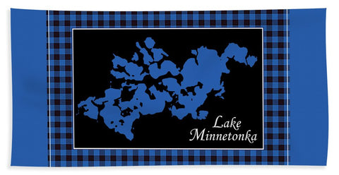 Lake Minnetonka Map With Black Background - Beach Towel