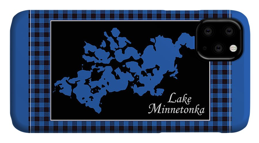 Lake Minnetonka Map With Black Background - Phone Case