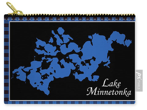 Lake Minnetonka Map With Black Background - Carry-All Pouch