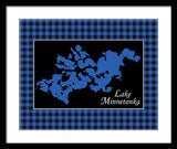 Lake Minnetonka Map With Black Background - Framed Print